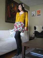 an inside day with aubrey beardsley (bloomingleopold) Tags: black floral wardroberemix dress nashville handmade urbanoutfitters tights bow hm ruffle bloomingleopold