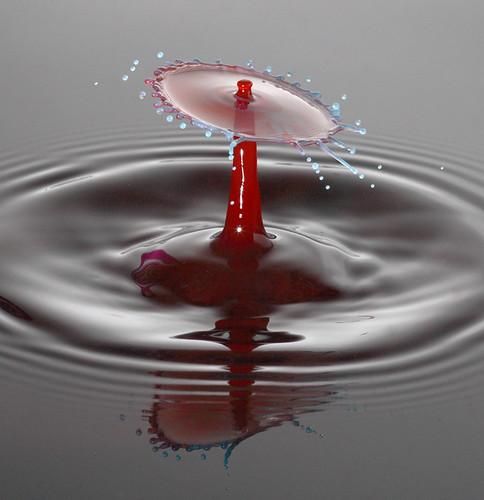 gota roja cayendo en agua