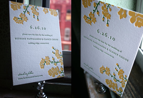 Mimosa Letterpress Save the Date from Bella Figura