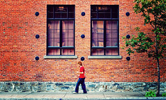 Shades of Red (isayx3) Tags: street red canada tree brick wall 50mm ginger nikon post montreal scene shades sidewalk 365 nikkor process friday f28 pp d60 plainjoe iammacgirl isayx3 ~sharonb~