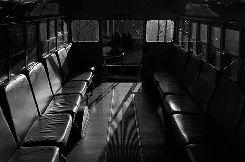 City Museum, in Saint Louis, Missouri, USA - interior of school bus
