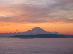 the mountain's got his hat on (leff) Tags: sky orange cold ferry washington freezing commute mountrainier rainier pugetsound mtrainier kaleetan washingtonstateferry