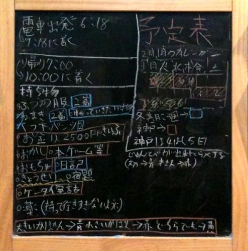 明後日から神戸へ帰る子供たち、黒板にびっしりとチェックリストを書いている娘。用意周到^^