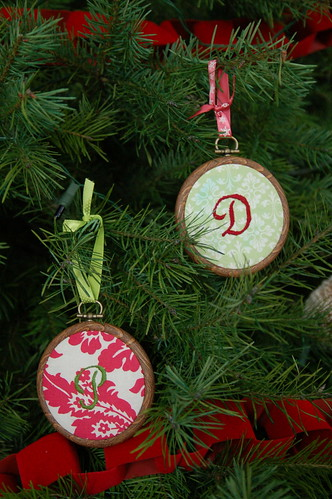 Embroidered monogrammed ornaments.