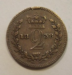 GREAT BRITAIN, VICTORIA 1838 ---MAUNDY TWOPENCE a (woody1778a) Tags: money coin europa europe unitedkingdom victoria tuppence queenvictoria 1838 numismatics twopence maundymoney