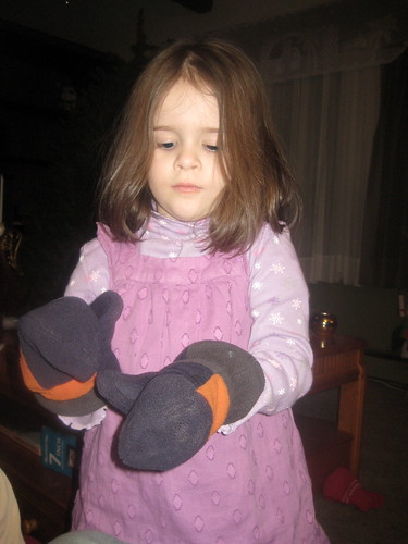 Bethany wearing mittens