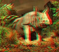 The Pandora Rhinoceros (Batram) Tags: red 3 nature museum germany stereoscopic 3d d avatar cyan anaglyph gotha stereoview pandora rhinoceros nashorn naturkunde batram
