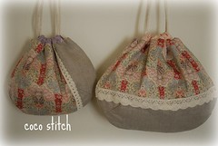 Shell pouch- japanese fabric (coco stitch) Tags: pink flower bag linen lace etsy plaid japanesefabric yuwa cocostitch shellpouch