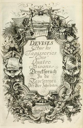 017- portada interior de las divisas para las tapicerias de las estaciones-Tapisseries du roy, ou sont representez les quatre elemens 1690- Sebastien Le Clerc