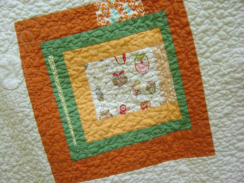 Dots & Critters Baby Quilt back close up