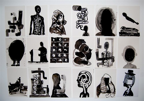 studio wall drawings by Stephen Dunne.