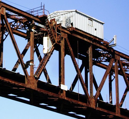 Truss Railroad Lift Bridge over Cedar Bayou, south of Spur 55, Baytown, Texas 0228101458
