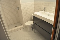 Clean lines (shakerdesigns) Tags: ikea tile bathroom renovation remodel midcentury bathroomremodel subwaytile bathroomrenovation godmorgon pennyround