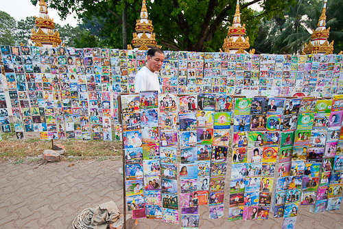 Selling CDs near Pha That Luang, Vientiane, Laos