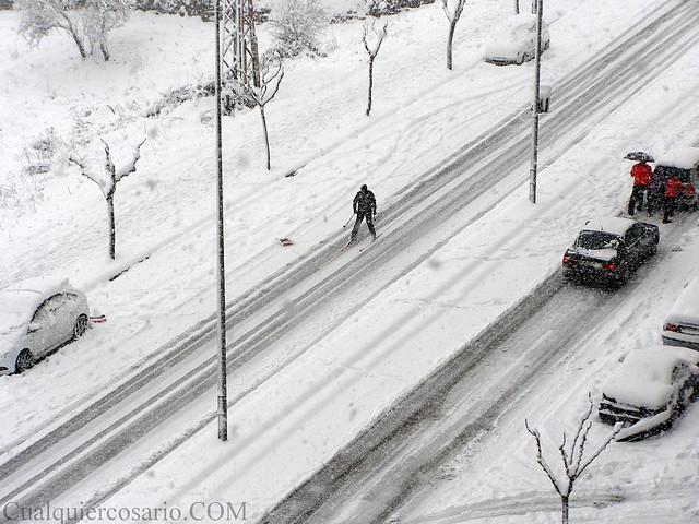 Amanecer blanco - esquiando por la avenida