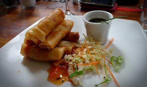 Vietnamese Vegetarian Spring Rolls with spicy ponzu dip