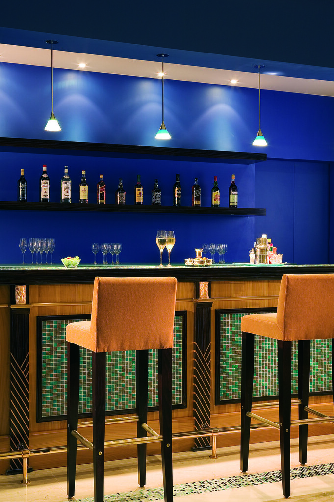 Simple blue colored lobby bar at the Casino of Palais de la Mediterranee, Nice , France
