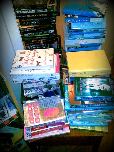 books in piles