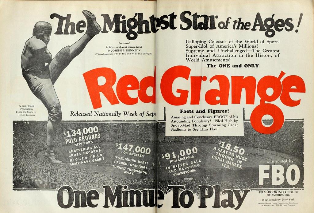 Vintage Film Advert for Red Grange in the silent film