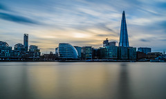 Gold and Blue Sky (Aleem Yousaf) Tags: gold blue sky shard gla building river thames long exposure little stopper lee graduated filter reflections water front nikon 1835mm neutral density clouds light streak skyline cityscape architecture steel glass london united kingdom sunset