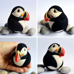 Puffin, needle felted wool decor (Linda Brike) Tags: needlefelting needlefelted bird ornament decor homedecor ball arttoy collectable collectorsitem wool woolart woolroommate etsy lindabrike peacock budgie budgerigar finch toucan puffin conure greencheekconure sparrow grackle robin lovebird