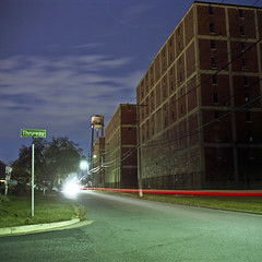 Thru (patrickjoust) Tags: road county street city light urban usa color tower 120 6x6 tlr film water night analog america square lens reflex spring md focus factory fuji mechanical streak suburban no united release patrick twin maryland cable baltimore warehouse mat v willow 124g pro epson medium format states meter manual 500 80 joust yashica seagrams seagram estados dundalk 80mm f35 fujicolor thruway c41 unidos yashinon v500 160s autaut patrickjoust