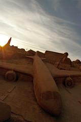 Crash! (R.i.c.a.r.d.o.) Tags: blue sunset sky beach portugal yellow contrast airplane sand desert crash algarve fiesa pra fiesa2009 fiesa09