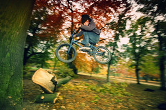 branch-ride 180 (Janthemanson) Tags: park wood tree fall leaves bike bicycle canon germany 350d jump bmx branch laub herbst hannover trick hop foilage eos350d 580ex nordstadt