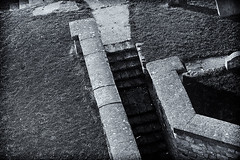 descend from the cemetary (robinparmar) Tags: ireland bw graveyard grass stairs mono photo pentax cemetary tint limited limerick fa aficionados 77mm fa77mm fa77 k20d justpentax