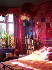 bedroom (Romany Soup) Tags: bedroom colourful textiles rockinghorse