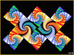 Spiral Mosaic l (antarctica246) Tags: art geometric motif digital spiral graphicdesign shiny soft dynamic graphic julia sandiego originalart unique oneofakind stripes sharp hires twirl formula fractal educational rainbows psychedelic visual wispy colorscheme uf nowpublic eyecandy digitalimage detailed barnsley feathery srt chaospro distinctive edgy evocative mathart fractalart mathematicalart graphicelement sandiegoartist antarctica246 fractalartist digitaleyecandy fractalspirals mdecfm upbeathappy visualmotif distinctivemotif visualsignpost artsoul4u technicolorvisions mathmeticalimagery