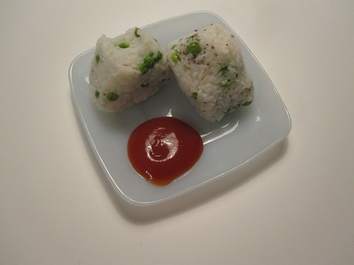 Pea onigiri with ketchup!
