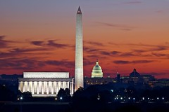 Washington skyline at dawn (Rozanne Hakala) Tags: morning usa monument skyline america sunrise dawn dc washington districtofcolumbia capital uscapitol nationalmall lincolnmemorial dcist washingtonmonument stillness daybreak nationscapital