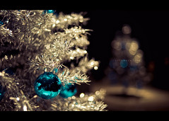 December 2009 (isayx3) Tags: christmas xmas blue reflection tree field 35mm silver ball season nikon holidays dof bokeh decoration f2 365 nikkor depth d3 plainjoe isayx3