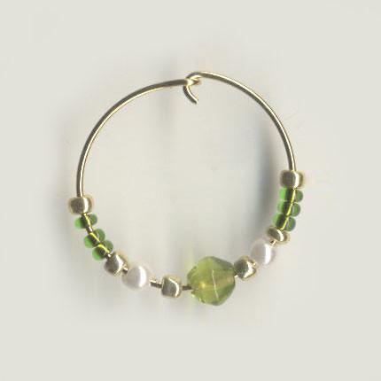 Peridot Green and Gold Beaded Hoops