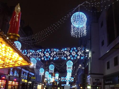Christmas lights on New Street + candle of the German Christmas Pyramid