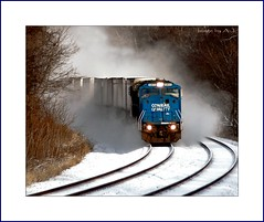 Winter Pig Train (Images by A.J.) Tags: railroad winter snow train tren piggy pig back pittsburgh pennsylvania ns norfolk railway trains southern pa transportation greensburg trucks trailer bahn piggyback treno freight trailers chemin trein digest ferrocarril conrail  ferroviario emd intermodal    sd60 sd60i lptrains