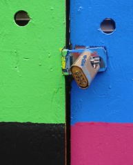 cockeyed (Darwin Bell) Tags: door pink blue black green wall lock 50 combinationlock anawesomeshot colorphotoaward