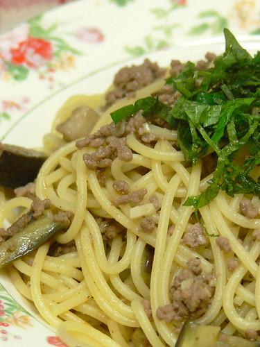 ナスと挽肉の和風スパゲティ