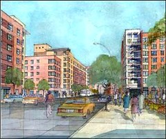 rendering of Melrose Commons revitalization, South Bronx (via MAP-iiSBE)