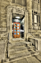 The Graduate Apartments (Barry J. Schwartz) Tags: door city red philadelphia canon industrial pennsylvania steps pa f90 philly 16mm hdr highdynamicrange hdri f9 1635 1635l highdynamicrangeimage 1635lii 1635ii 5dmkii 5dmk2 barryjschwartzcom 1635lversion2