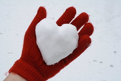 (Lizzie Staley) Tags: red sculpture orange snow catchycolors hand heart glove hold