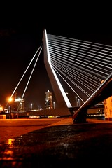 Rotterdam nights... (CitroenAZU) Tags: bridge light building tower night de swan rotterdam erasmus nacht pont montevideo brug van nuit kop erasmusbrug zuid zwaan erasmusbridge