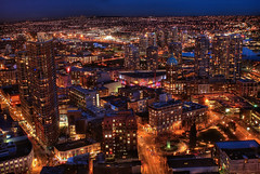 Vancouver by Night (HDR) (Brandon Godfrey) Tags: pictures street city longexposure blue light wallpaper urban usa sun canada water beautiful skyline night vancouver photoshop buildings wonderful square photography lights photo washington amazing twilight long exposure cityscape mt baker bc state metro photos shots pics britishcolumbia sony unitedstatesofamerica picture trails free pic canadian victory mount hour falsecreek pacificnorthwest burnaby northamerica metropolis hastings unreal dslr incredible hdr highdynamicrange 2010 neons vast woolworthbuilding lowermainland a300 landscpe backround sunbuilding photomatix tonemapped tonemapping cs5 rihani sonya300