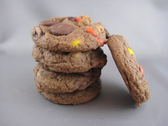 Chocolate Peanut Butter Candy Cookies