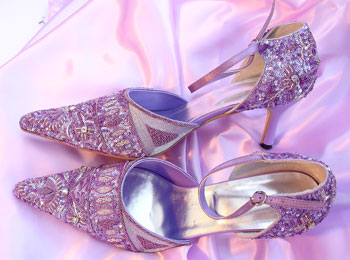 Sexy wedding shoes with high heels purple