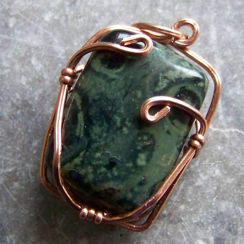 Copper and Kambaba Jasper pendant