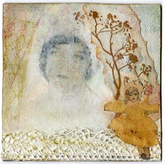 4x4  Legend of the yellow doll.... (Julka2009...(mostly off)) Tags: woman white art altered vintage doll branch 4x4 handmade lace pastel tradingcard craft swap mysterious legend gish available 2010 liliangish silentmoviestar yellowdoll sharingart