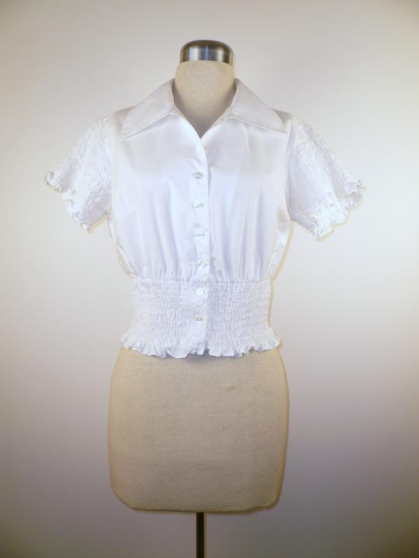 Front - Cute Cropped Cotton Blouse with Ruched sleeves and waist