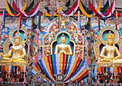 Namdroling Monastery Interior.. (Ashok666) Tags: india statue architecture temple worship tour buddha interior buddhist indian statues buddhism monastery idol huge karnataka pilgrimage nagar sanctum namdroling kushal bylakuppe monasteries whopping sanctorum nyingmapa